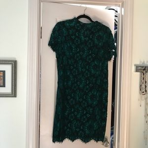 Betsy Johnson metallic green and black lace dress